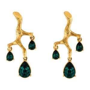 Oscar de la Renta Signed Green Crystal Branch Drop